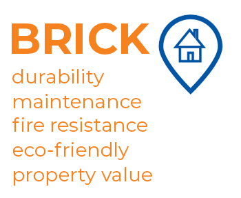 Graphics - showing the main advantages of the building material: brick.