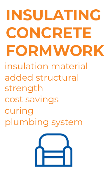 Graphics - showing the main advantages of the building system: insulating concrete formwork.