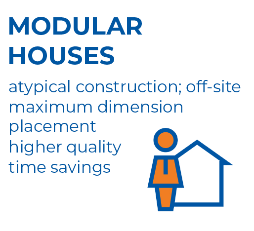 Graphics - showing the main advantages of the building system: modular houses.