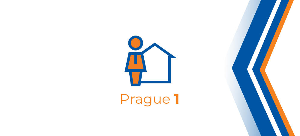 Article title graphics. It appeals to the topic of the city district in the center of the capital - Prague 1.