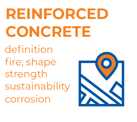Graphics - showing the main advantages of the building material: reinforced concrete.