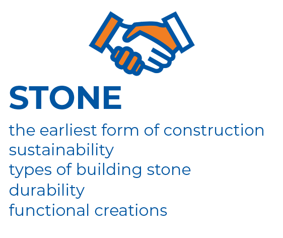 Graphics - showing the main advantages of the building material: stone.